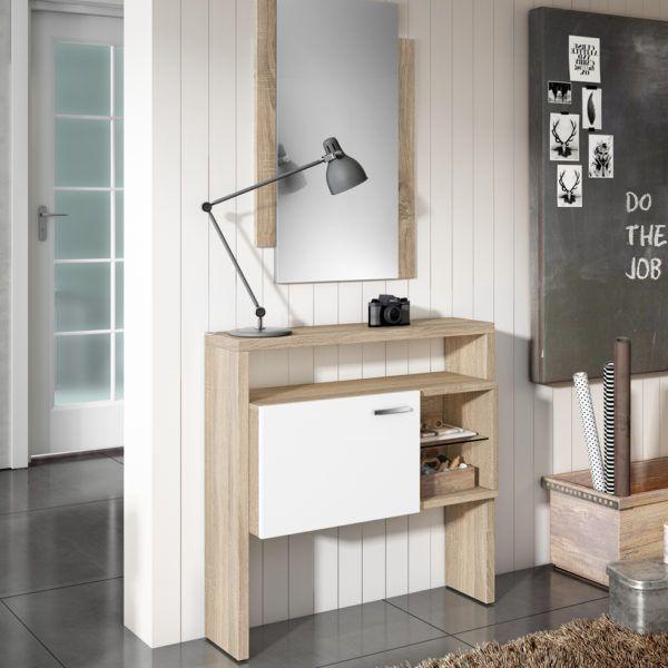 Mueble recibidor zas3000522050 zasmobel for Espejos blancos baratos